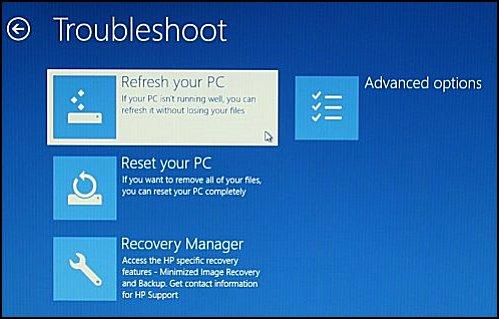 Sélection de l'option Actualiser votre PC sur l'écran de dépannage