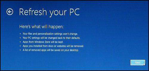 Clic sur Suivant sur l'écran Actualiser de votre PC