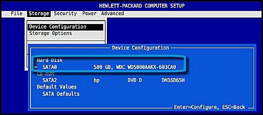 BIOS に一覧表示されたハードドライブ