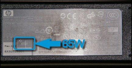 Wattstyrken markert på strømadapteren, 65 W