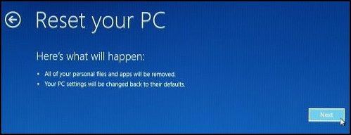 Нажатие кнопки Далее на экране Вернуть компьютер в исходное состояние