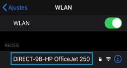 Selecionando o nome da impressora Wi-Fi Direct na lista