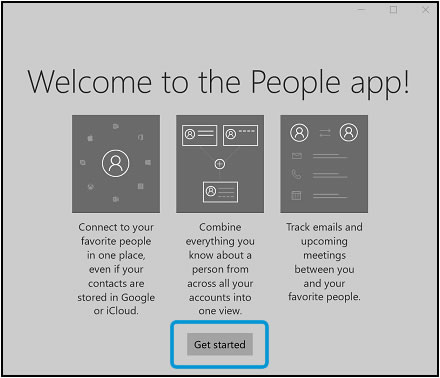 Clicking Get started on the People app welcome window