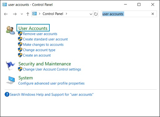 Selecting User Accounts from the Control Panel app