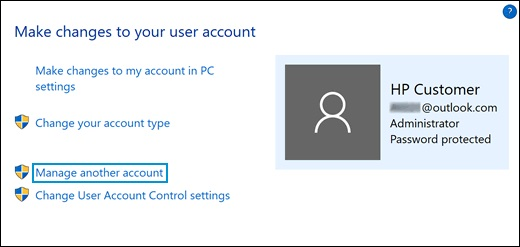Clicking Manage another account in the User Accounts window
