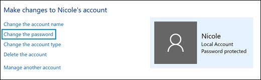 Clicking Change the password in the Change an Account window