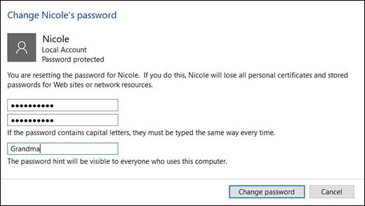 Clicking Change password in the Change Password window