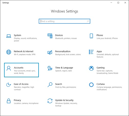 Selecting Accounts on the Windows Settings home screen