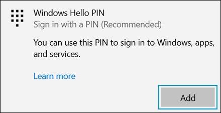 Selecting Add in the Windows Hello PIN area