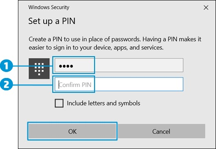 Locating the PIN and confirm PIN fields, and then clicking OK