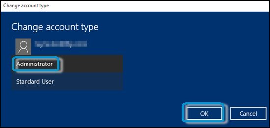 Selecting Administrator as the account type
