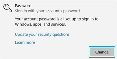 Clicking Change in the Password area of the Sign-in options window