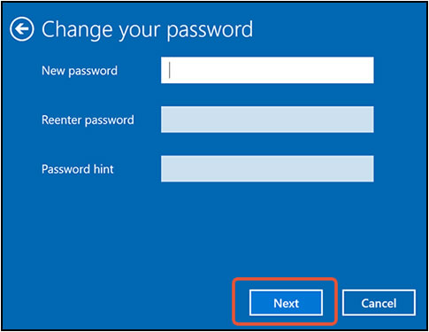 Clicking Next with all fields empty in the Change your password window