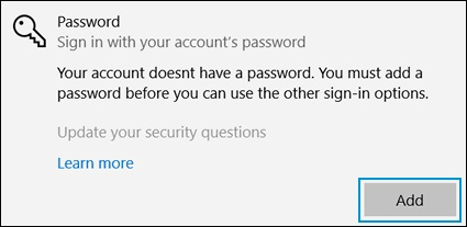 Clicking Add in the Password area of the Sign-in options window