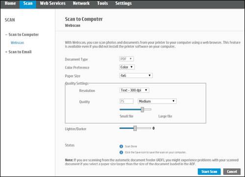 Example of the Webscan settings menu in the EWS