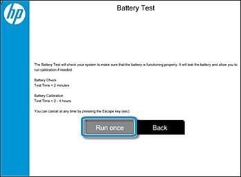 Écran de test de la batterie avec l'option Exécuter une fois sélectionnée