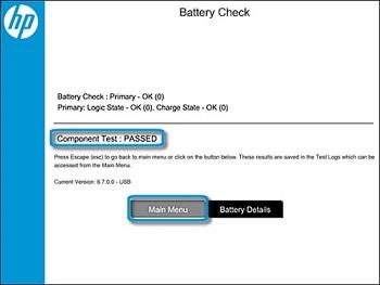 Exemple d'un test de vérification de la batterie réussi