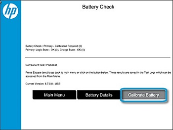 Test de batterie réussi et nécessité d'étalonner
