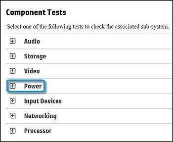 """在""""组件测试""""中选择""""电源"""""""