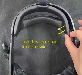 Tire de la almohadilla posterior de un lado
