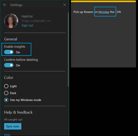 The Sticky Notes settings window with Enable insights highlighted and a sticky note with a highlighted date