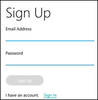 Екран реєстрації Tile для введення адреси електронної пошти й пароля