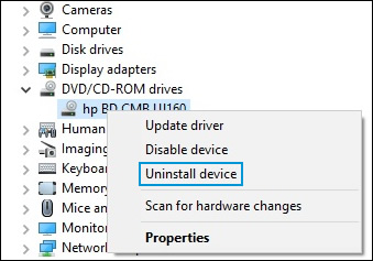 Uninstalling a DVD/CD-ROM drive in Device Manager