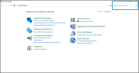 The Control Panel window with the search bar highlighted