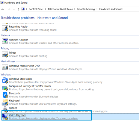 The Troubleshooting window with Video Playback selected