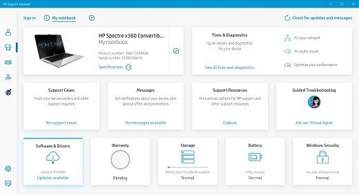 Selección de Mi equipo portátil en la pantalla de inicio de HP Support Assistant