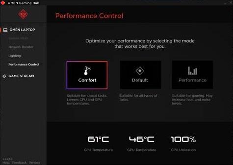 Pantalla de Control de rendimiento con modo de Comodidad establecido