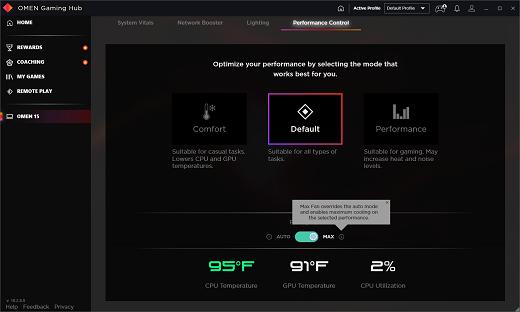 Tela de Controle de desempenho definida no Max. Ventoinha