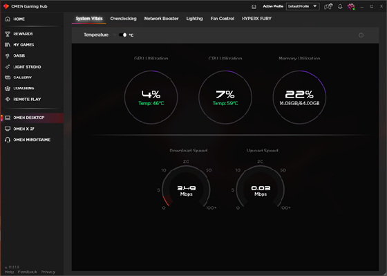 Экран Показатели системы в OMEN Gaming Hub