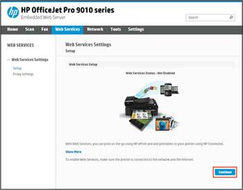 Esempio di selezione del pulsante Continua nella scheda Servizi Web del server Web incorporato della stampante