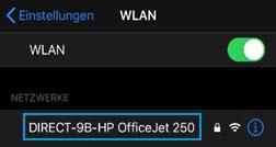 Auswählen des Namens des Wi-Fi Direct-Druckers in der Liste