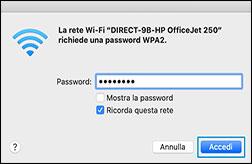 Selezione del nome della stampante Wi-Fi Direct dall'elenco