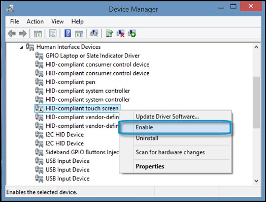 Enable the HID-compliant touch screen in Device Manager