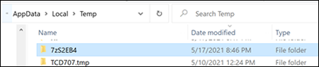 """Öffnen des Ordners """"7z"""" in den temporären Dateien in Windows"""