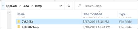 Ouverture du dossier 7z dans les fichiers Temp de Windows