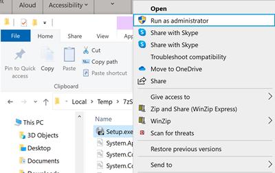 Clic sur Exécuter en tant qu'administrateur dans Windows