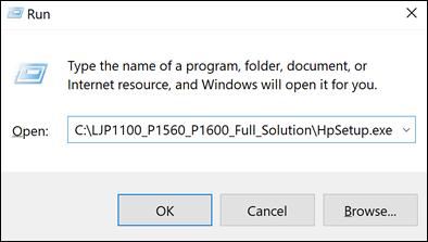 Saisie d'un chemin de fichier dans la boîte de dialogue Exécuter dans Windows