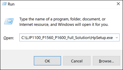 Wpisywanie ścieżki w oknie dialogowym Uruchom w Windows