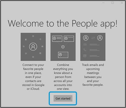 Выбор опции Начать в окне приветствия приложения Люди