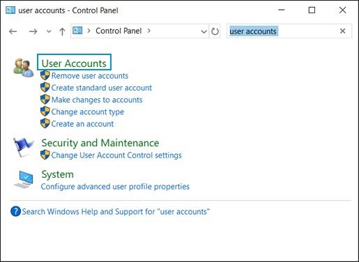 Выбор Учетные записи пользователей в приложении Панель управления