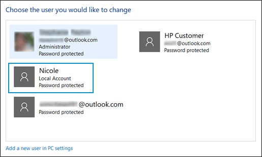 Выбор локальной учетной записи, для которой забыт пароль