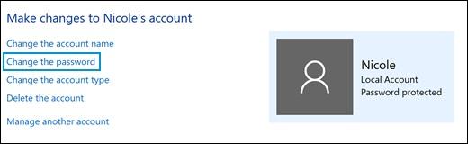 Нажатие кнопки Изменить пароль в окне Изменение учетной записи