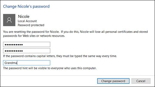 Нажатие кнопки Изменить пароль в окне Изменение пароля
