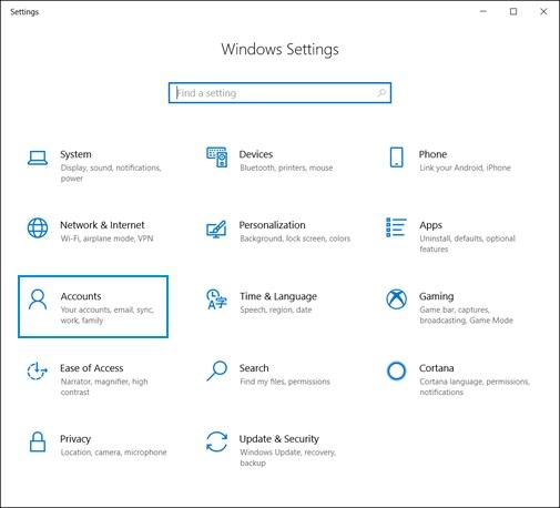 Выбор пункта Учетные записи на начальном экране Параметры Windows