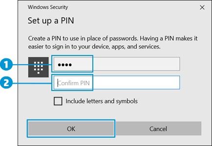 Расположение поля для ввода PIN-кода и поля для подтверждения PIN-кода и нажатие кнопки OK