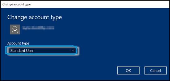Выбор раскрывающегося меню Тип учетной записи